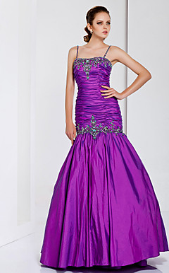 Trumpet/Mermaid Spaghetti Straps Floor-length Taffeta Evening Dress