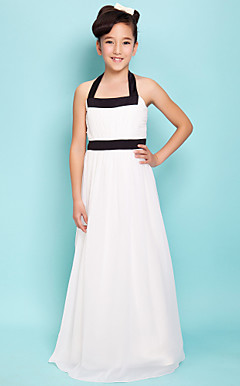 Sheath/Column Halter Floor-length Satin Chiffon Junior Bridesmaid Dress