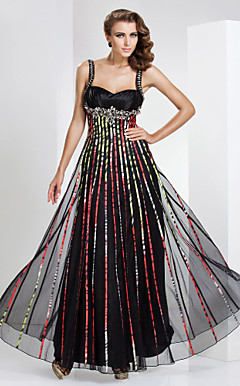 Sheath/Column Sweetheart Floor-length Tulle And Stretch Satin Evening Dress