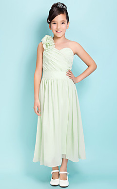 A-line One Shoulder Tea-length Satin Chiffon Junior Bridesmaid Dress
