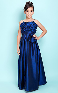 A-line Spaghetti Straps Floor-length Taffeta Junior Bridesmaid Dress