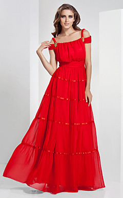 A-line Bateau Off-the-shoulder Floor-length Chiffon Evening Dress