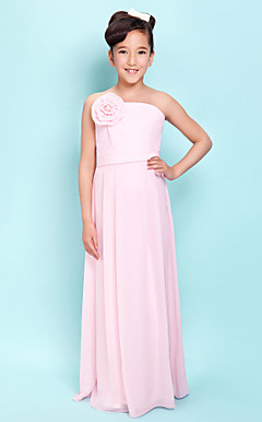 Sheath/Column Strapless Floor-length Chiffon Junior Bridesmaid Dress