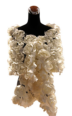 Luxurious Lace With Satin Flowers Wedding / Special Occasion Shawl