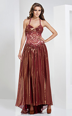 A-line Halter Floor-length Sweep/Brush Train Chiffon Evening Dress