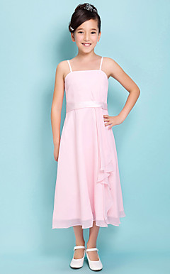 Sheath/Column Spaghetti Straps Tea-length Satin Chiffon Junior Bridesmaid Dress