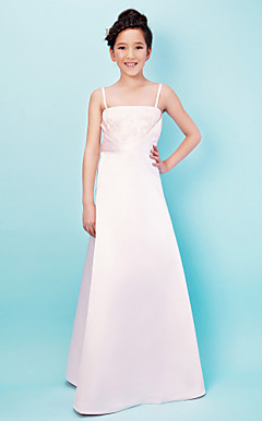 Annabelle A-line Spaghetti Straps Square Floor-length Satin Junior Bridesmaid Dress
