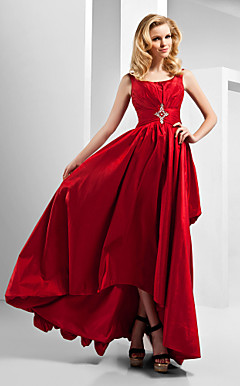 A-line Scoop Asymmetrical Floor-length Taffeta Evening Dress