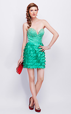 Sheath/ Column Strapless Short/ Mini Charmeuse Cocktail Dress