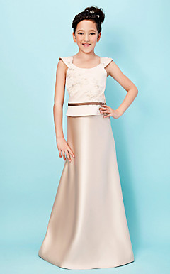 Brisk A-line Scoop Floor-length Satin Junior Bridesmaid Dress