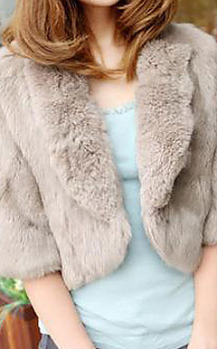Half Sleeve Shawl Collar Evening/ Office Faux Fur Jacket  (More Colors)