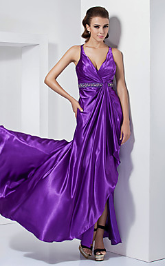 A-line V-neck Asymmetrical Stretch Satin Evening Dress With Sweep/Brush Train