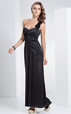 Sheath/Column One Shoulder Floor-length Polyester Evening Dress