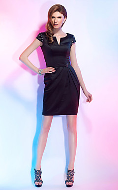 Sheath/Column Notched Neckline Short/Mini Satin Cocktail Dress
