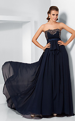 A-line Strapless Chiffon And Lace Evening Dress inspired by Katie Holmes at the 84th Oscar