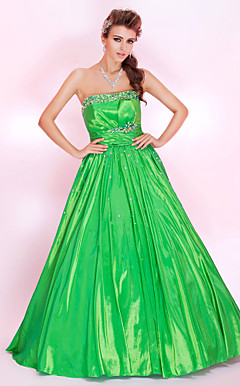 A-line Strapless Floor-length Taffeta Prom Dress