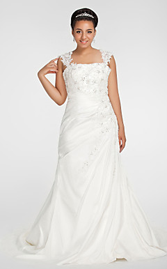 Trumpet/ Mermaid Square Chapel Train Chiffon Plus Size Wedding Dress
