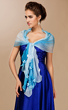 chiffon com o boto xale ocasio especial em azul