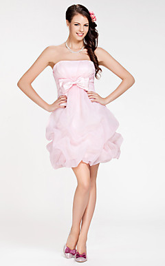 Ball Gown Strapless Short/ Mini Organza Bridesmaid Dress