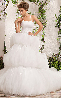 Ball Gown Spaghetti Straps Chapel Train Tulle Satin Wedding Dress