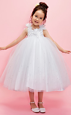 Ball Gown V-Neck tea-lunghezza tulle sopra taffettà Flower Girl Dress