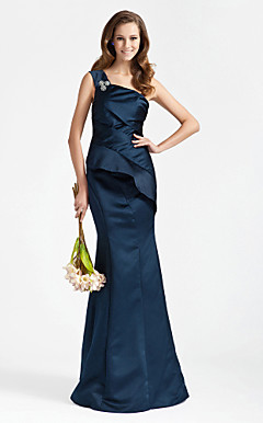 Trumpet/ Mermaid One Shoulder Floor-length Satin Bridesmaid Dress