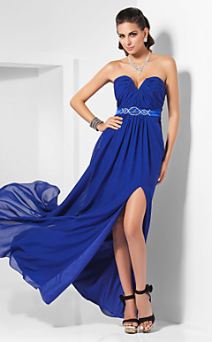 Sheath/ Column Sweetheart Floor-length Chiffon Evening Dress (FSM04258)