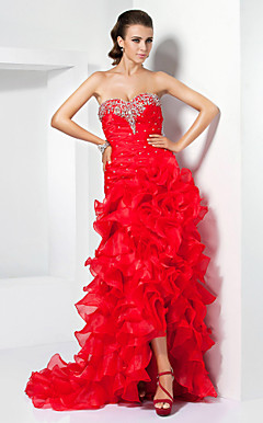 A-line Sweetheart Asymmetrical Organza Prom Dress With Cascading Ruffles