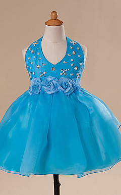 Ball Gown Halter Neck Knee-length Flower Girl Dress