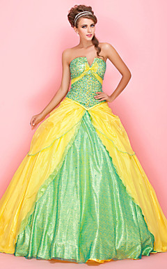 Ball Gown V-neck Strapless Floor-length Tulle Sequined Prom Dress