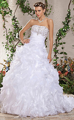 Ball Gown Strapless Chapel Train Beading Side-Draped Ruffles Wedding Dress