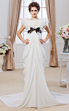 Sheath/ Column Jewel Chapel Train Chiffon Wedding Dress