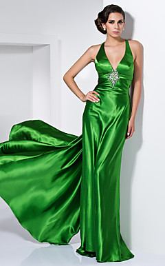Sheath/Column V-neck Floor-length Stretch Satin Crystal Brooch Evening Dress
