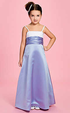 A-line Straps Square Ankle-length Satin Ruching Flower Girl Dress