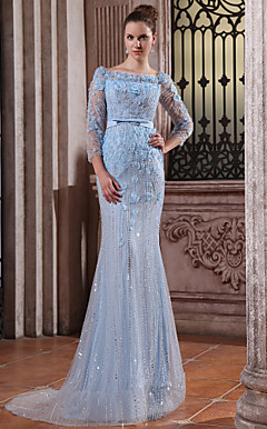 Trumpet Mermaid Bateau Sweep Brush Train Tulle Over Chiffon Luxurious Evening Dress
