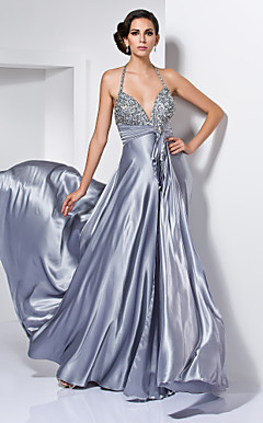 A-line Sweetheart Halter Floor-length Stretch Satin Evening Dress