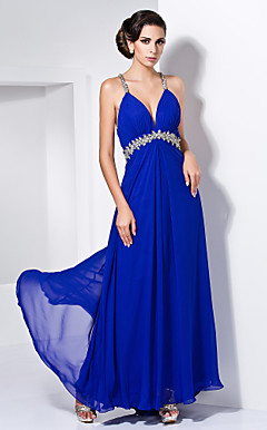 Sheath/Column V-neck Floor-length Chiffon Beading Evening Dress