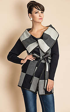 TS Check Pattern Wide Lapel PU Stitching Woolen Coat