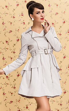 TS VINTAGE Zipper Decorate Ruffle Back Trench Coat