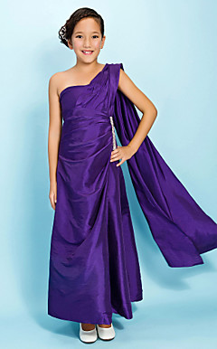 A-line One Shoulder Ankle-length Taffeta Junior Bridesmaid Dress