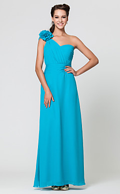 Sheath/Column One Shoulder Floor-length Chiffon Bridesmaid Dress With Flower(s)