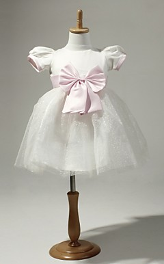 White Chiffon Flower Girl Dress With Pink Bow