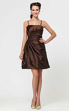 A-line Short/Mini Taffeta Bridesmaid Dress With Side Draping