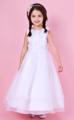 A-line Jewel Neck Floor-length Organza And Satin Flower Girl Dress
