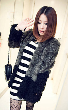 Long Sleeve Collarless Casual/Evening Faux Fur Coat(More Colors)