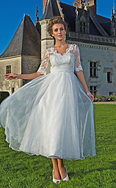 a-lijn v-hals enkels-length organza kant wedding dress