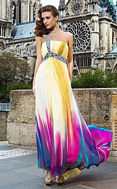 Sheath/Column One Shoulder Floor-length Chiffon Faddish Evening Dress