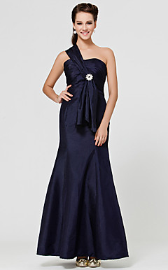 Trumpet/ Mermaid One Shoulder Floor-length Taffeta Bridesmaid Dress