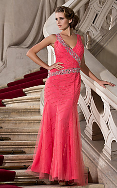 Trumpet/Mermaid V-neck Floor-length Tulle Evening Dress