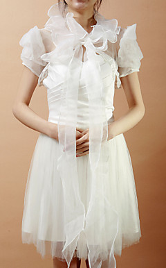 Short Puff Sleeve Organza Wedding/Evening Jacket/Wrap (More Colors)